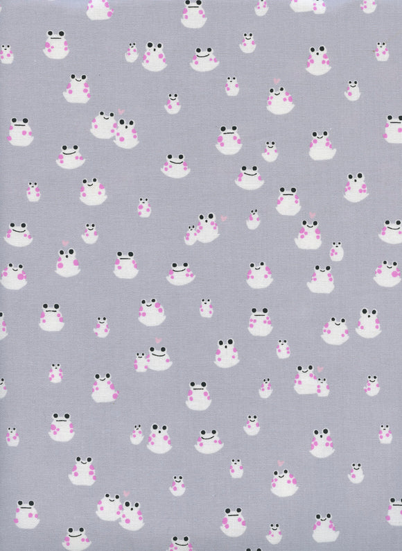 Cotton + Steal - Front Yard - Sarah Watts - Frogs Grey - Quilters Cotton