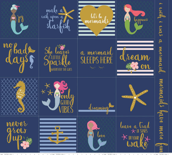 Riley Blake Fabrics - Let's Be Mermaids - Panel Sparkle Navy Fabric