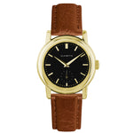 Women's Yellow Gold Watch w/ Black Dial & Cognac Strap