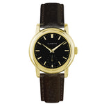 Women's Yellow Gold Watch w/ Black Dial & Brown Strap