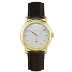 Women's Yellow Gold Watch w/ White Dial & Brown Strap