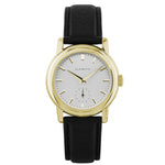 Women's Yellow Gold Watch w/ White Dial & Black Strap