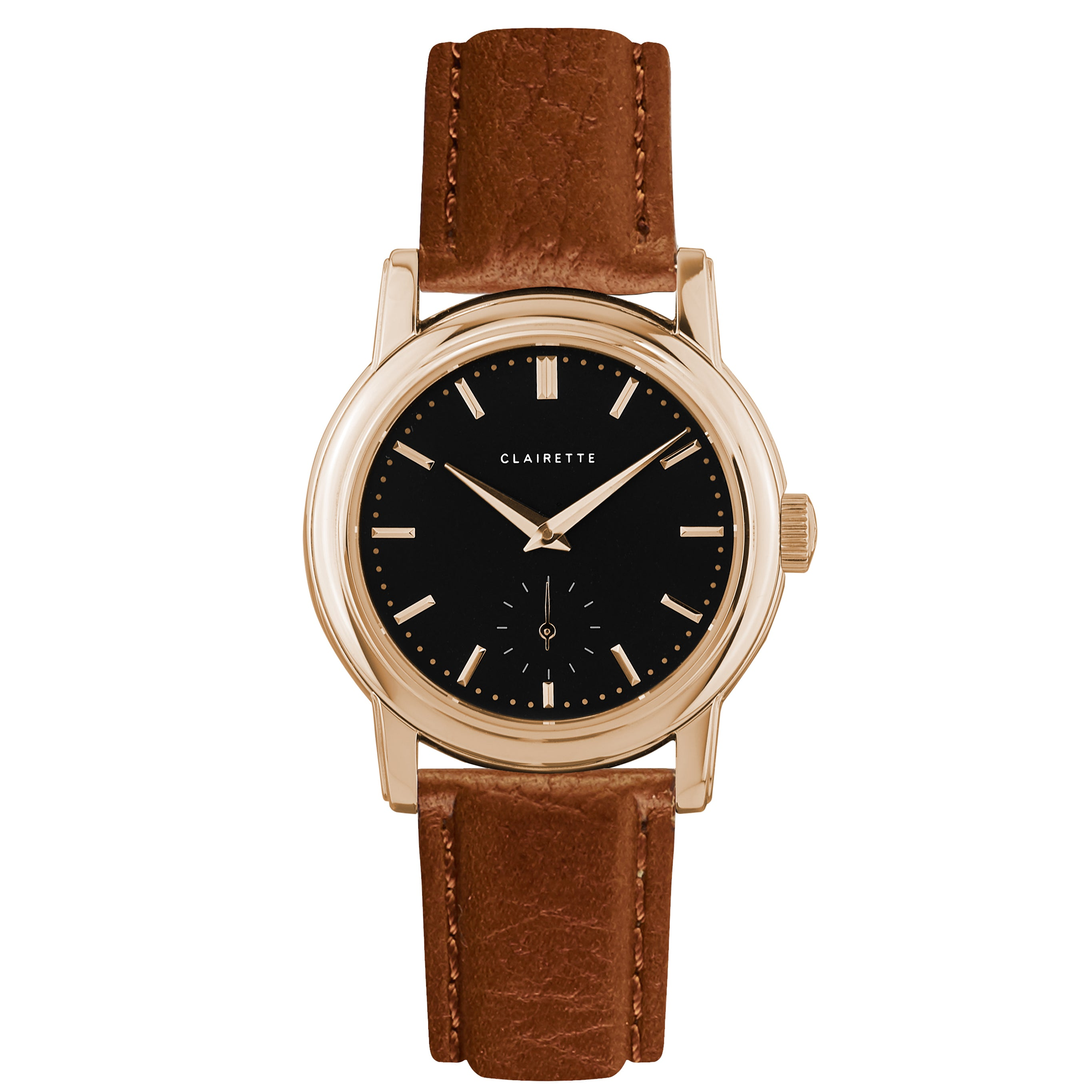 Women's Rose Gold Watch w/ Black Dial & Cognac Strap