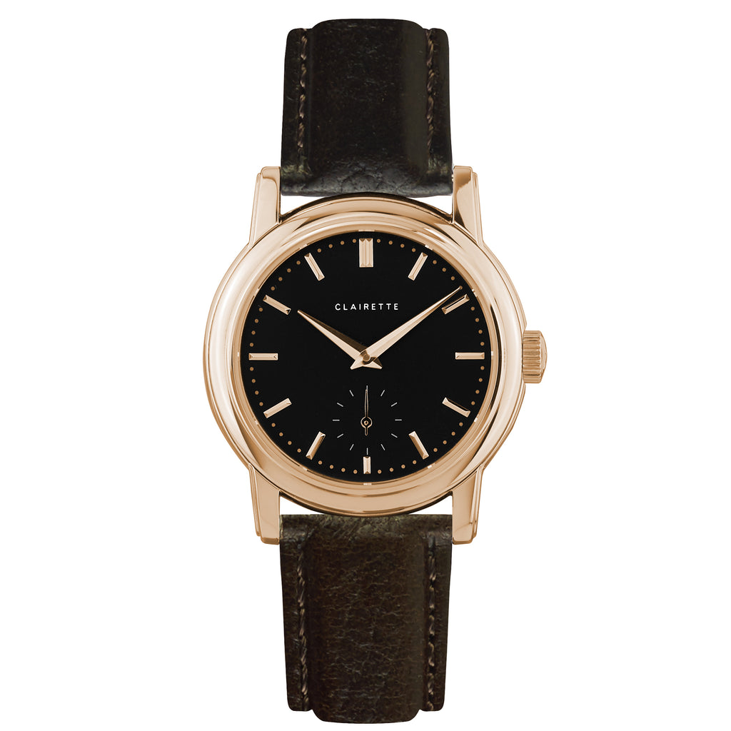 Women's Rose Gold Watch w/ Black Dial & Brown Strap