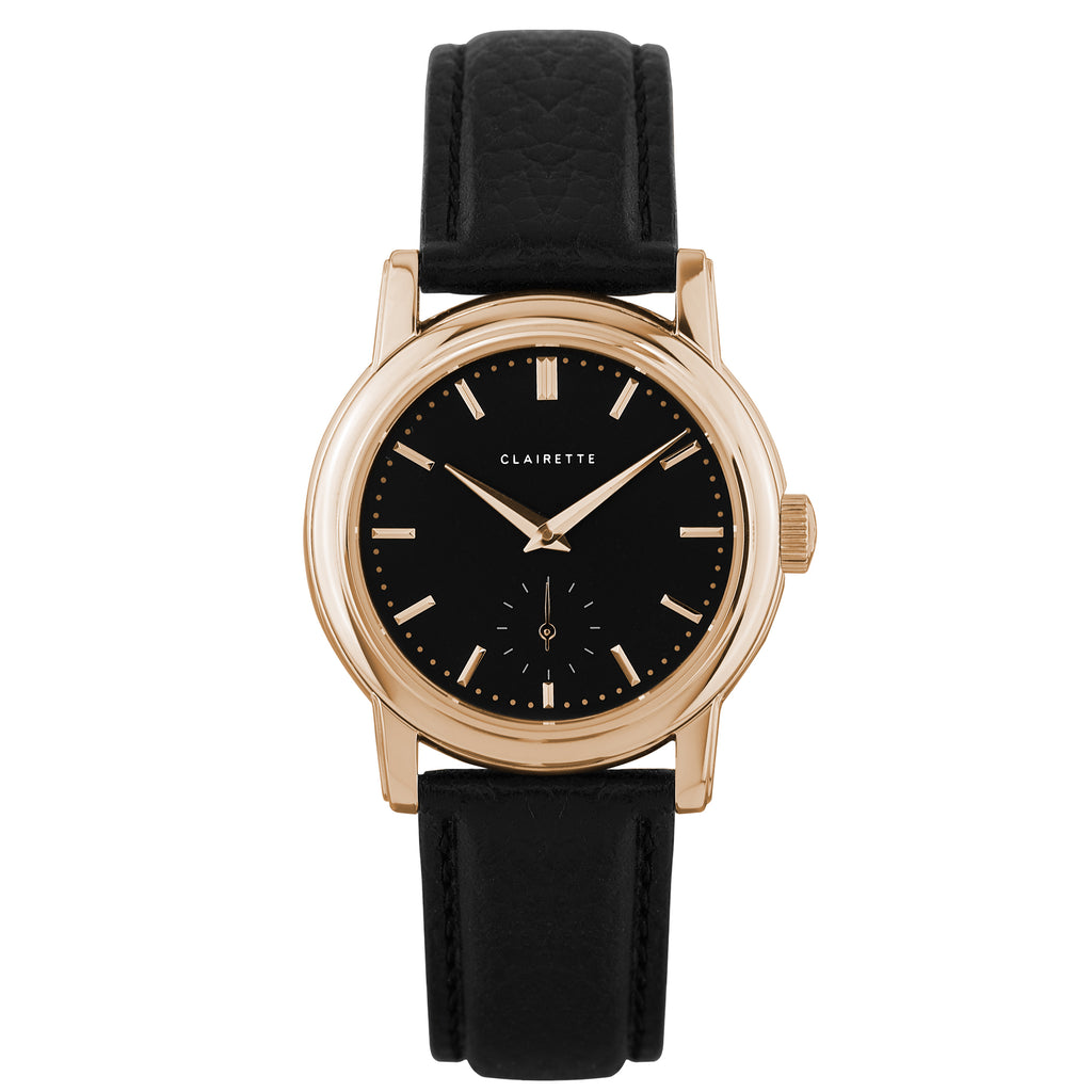 Women's Rose Gold Watch w/ Black Dial & Black Strap