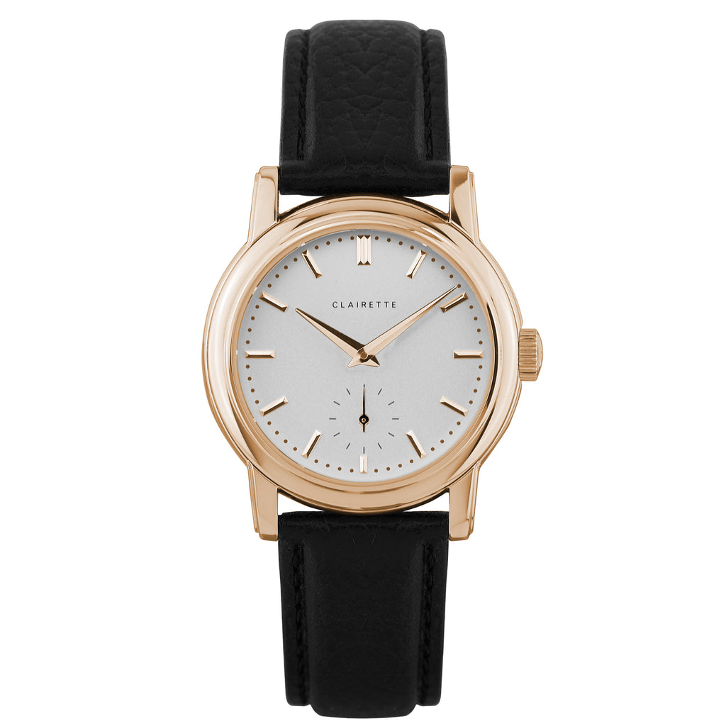 Women's Rose Gold Watch w/ White Dial & Black Strap