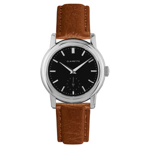 Women's Stainless Steel Watch w/ Black Dial & Cognac Strap