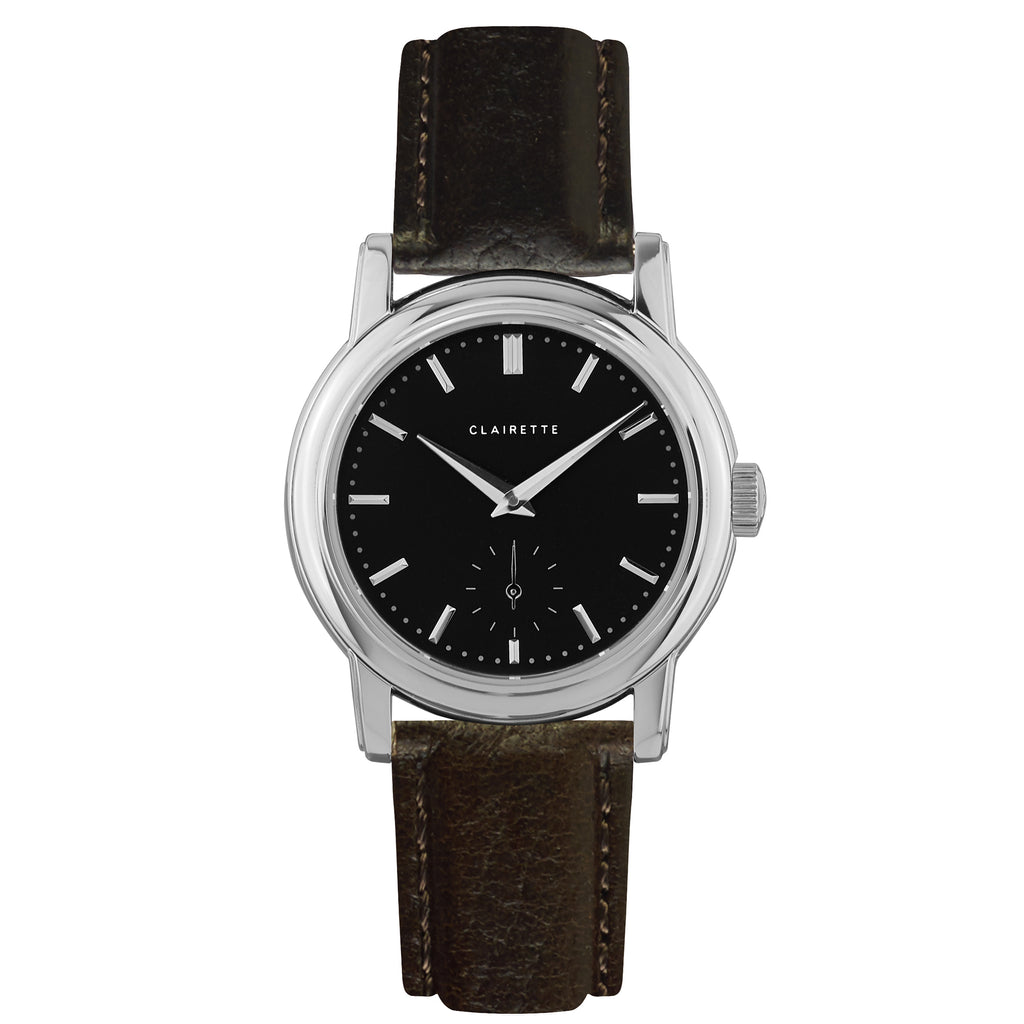 Women's Stainless Steel Watch w/ Black Dial & Brown Strap