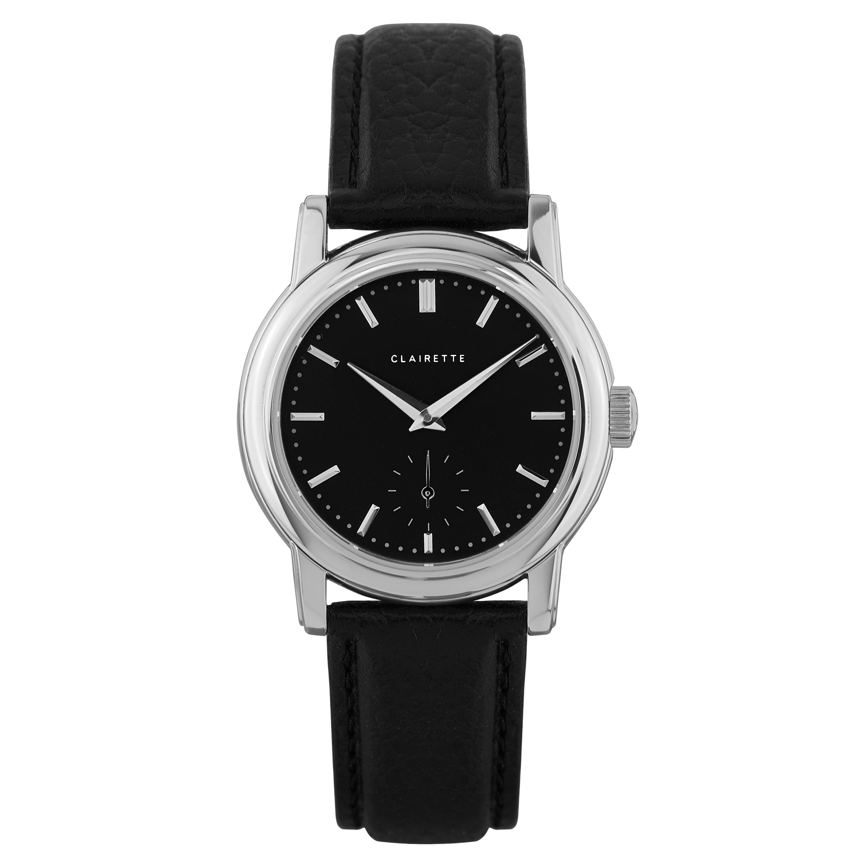 Women's Stainless Steel Watch w/ Black Dial & Black Strap