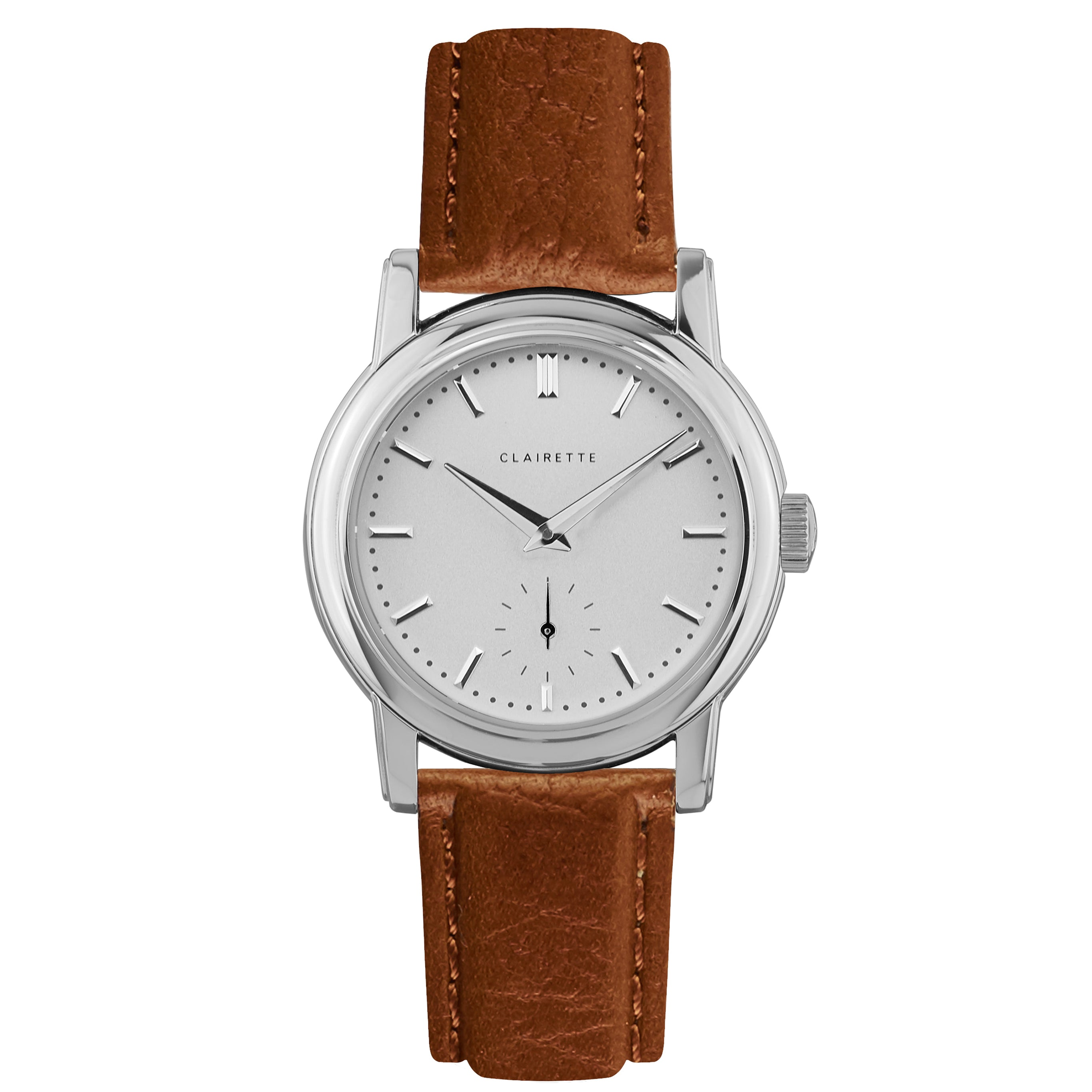 Women's Stainless Steel Watch w/ White Dial & Cognac Strap