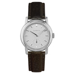 Women's Stainless Steel Watch w/ White Dial & Brown Strap