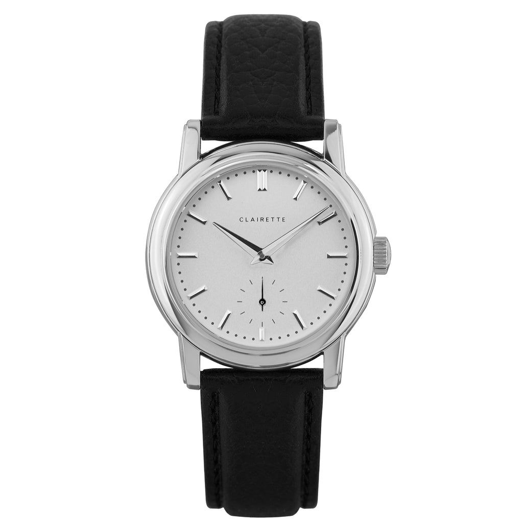 Women's Stainless Steel Watch w/ White Dial & Black Strap