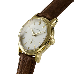 Women's Yellow Gold Watch w/ White Dial & Cognac Strap