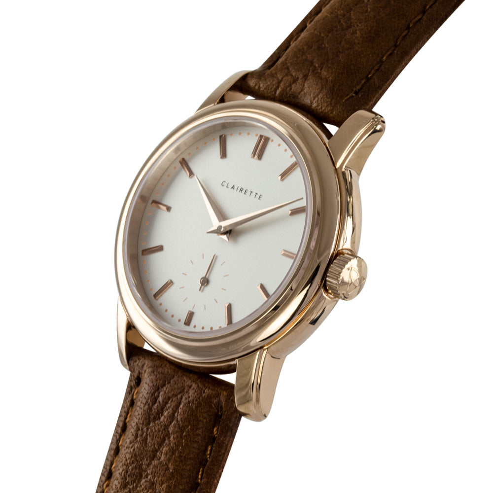 Women's Rose Gold Watch w/ White Dial & Cognac Strap