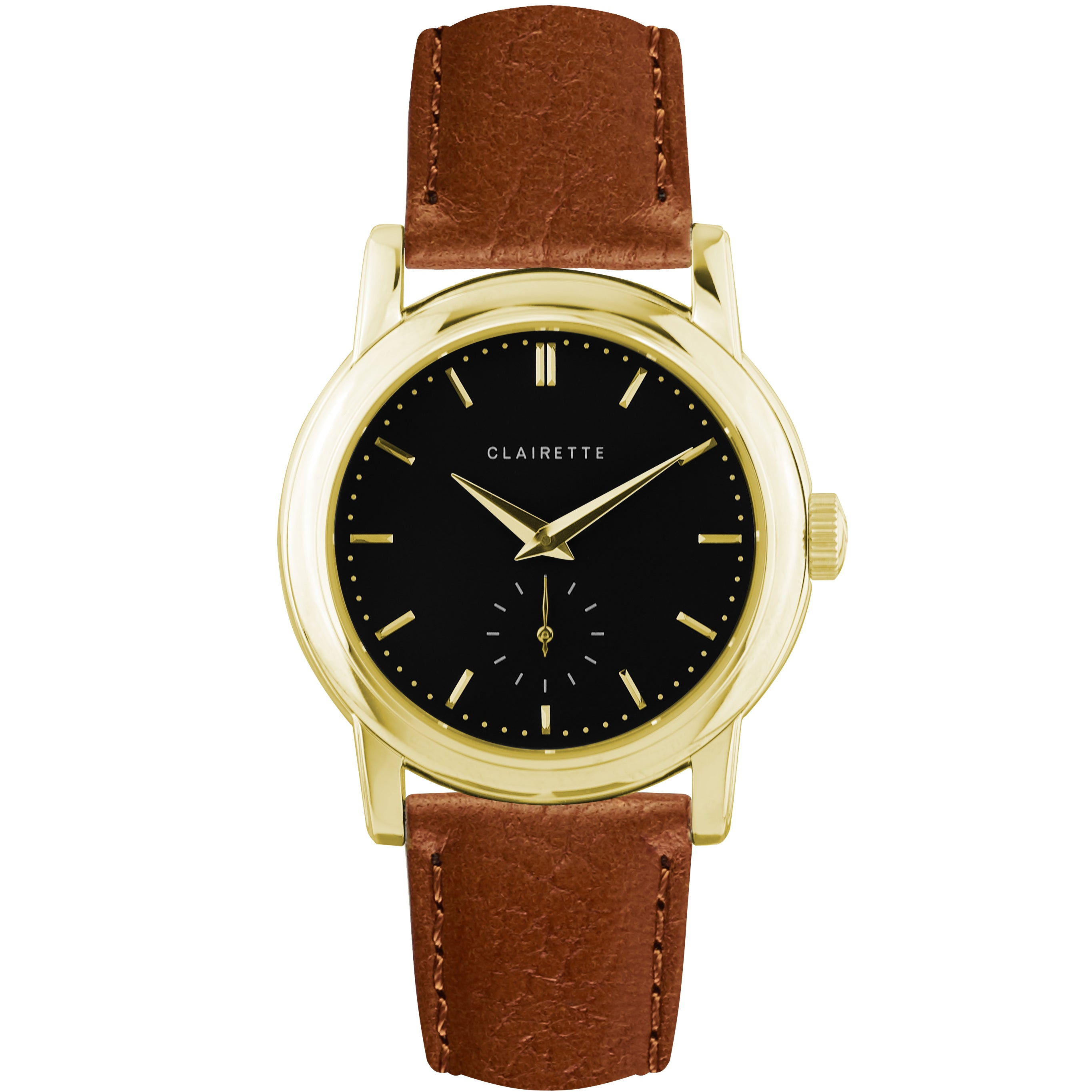 Men S Yellow Gold Watch W Black Dial Cognac Strap Clairette Watches