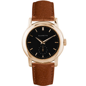 Men's Rose Gold Watch w/ Black Dial & Cognac Strap
