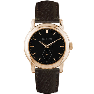Men's Rose Gold Watch w/ Black Dial & Brown Strap