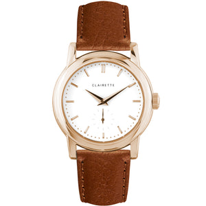 Men's Rose Gold Watch w/ White Dial & Cognac Strap