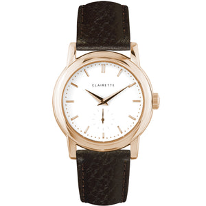 Men's Rose Gold Watch w/ White Dial & Brown Strap
