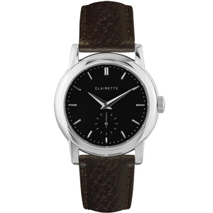 Men's Stainless Steel Watch w/ Black Dial & Brown Strap
