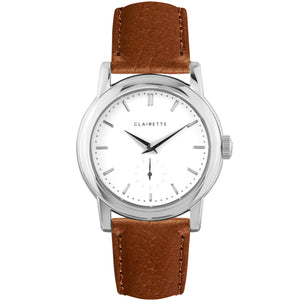 Men's Stainless Steel Watch w/ White Dial & Cognac Strap