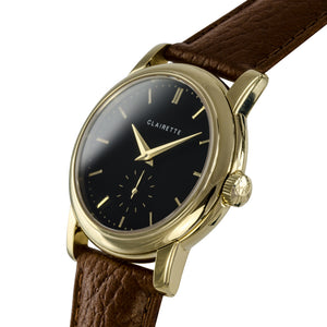 Men's Yellow Gold Watch w/ Black Dial & Cognac Strap