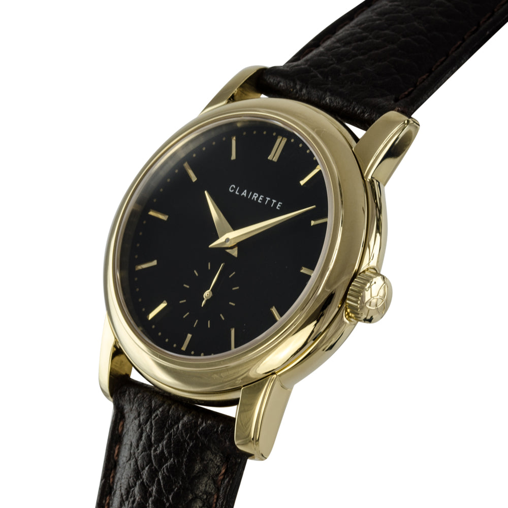Men's Yellow Gold Watch w/ Black Dial & Brown Strap