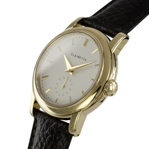 Men's Yellow Gold Watch w/ White Dial & Brown Strap