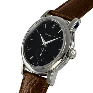 Men's Stainless Steel Watch w/ Black Dial & Cognac Strap