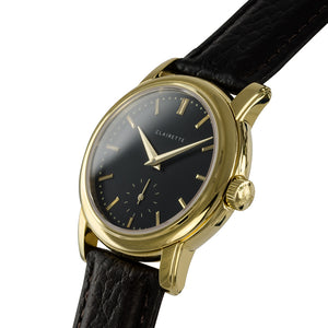 Women's Yellow Gold Watch w/ Black Dial & Black Strap