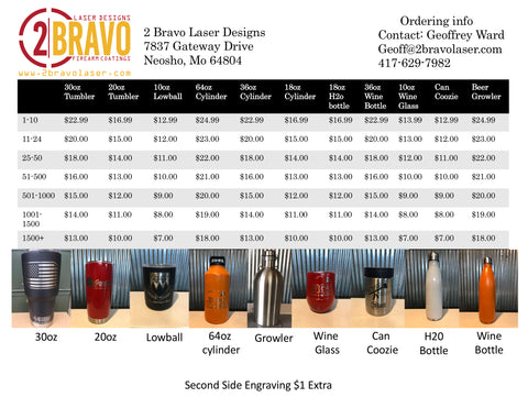 Bulk Price List Custom Engraved Tumblers 2 Bravo Laser designs