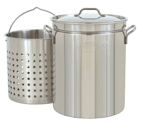 Bayou Classic 24 Quart Stainless Steel Stockpot w/ Lid & Basket