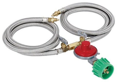 "Bayou Classic Dual 36"" Stainless LPG Braided Hose w/ 10 PSI Preset Regulator"