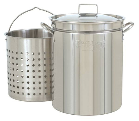 Bayou Classic 44 Quart Stainless Steel Stockpot w/ Lid & Basket
