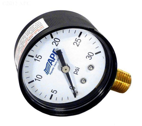 "Pressure gauge, poly case, 1/4"" tap, 0-30#, bottom mount, 2"" face - Yardandpool.com"