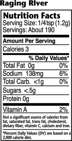 Dizzy Pig Raging River Nutritional Information