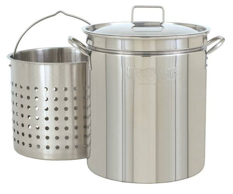 Bayou Classic 62 Quart Stainless Steel Stockpot w/ Lid & Basket