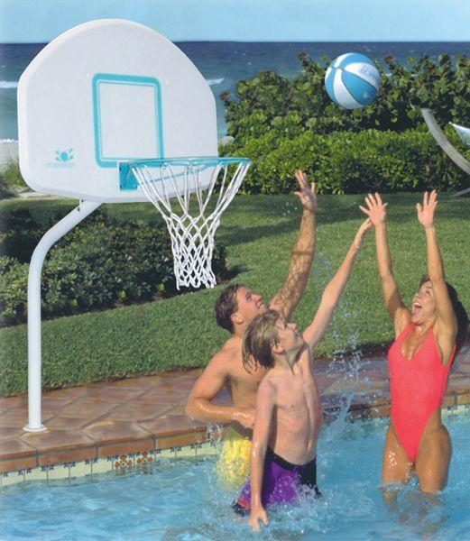 Deck Combo Swimming Pool Basketball Hoop and Volleyball Set - Stainless Steel Rim