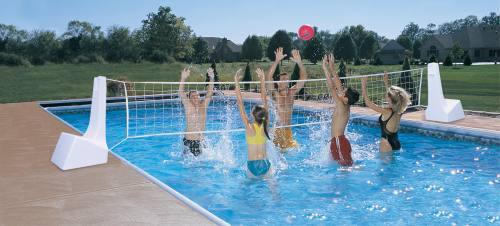 Pool Sport Portable Swimming Pool Basketball Hoop and Volleyball Set -  Stainless Steel Rim