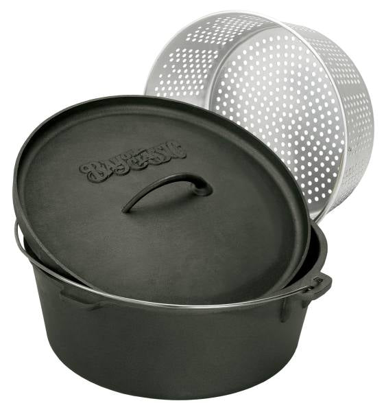 Bayou Classic 8.5 Quart Cast Iron Dutch Oven w/ Aluminum Basket