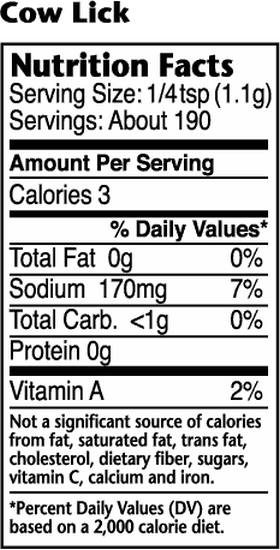 Dizzy Pig Cow Lick Nutritional Information