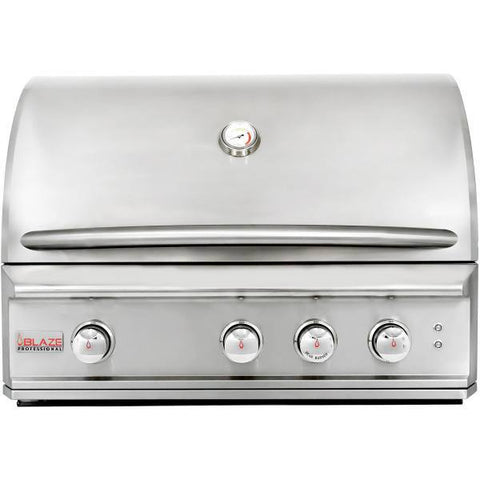 "Blaze Professional 34"" 3-Burner Built-In Gas Grill w/ Rear Rotisserie Burner - Yardandpool.com"