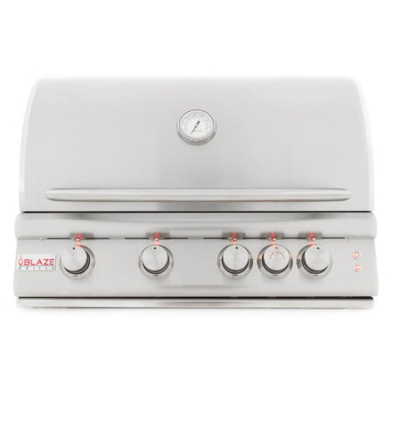 "Blaze 32"" Marine Grade 4-Burner LTE Built-In Gas Grill w/Rear Rotisserie Burner and Lights - Yardandpool.com"