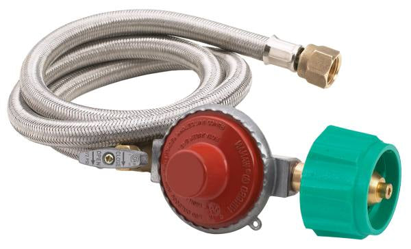 "Bayou Classic 48"" Stainless LPG Braided Hose w/ 10 PSI Preset Regulator"