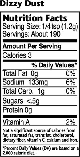 Dizzy Pig Dizzy Dust Nutritional Information