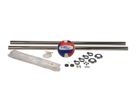 "Deck Volly Stainless Swimming Pool Volleyball Set - 1.90"" Posts"
