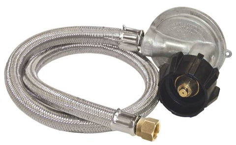 "Bayou Classic 36"" Stainless LPG Braided Hose w/ 1 PSI Preset Regulator"