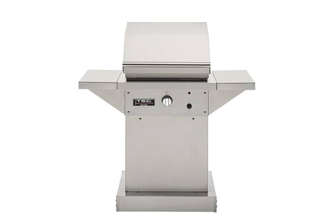"TEC 26"" Freestanding Patio FR Infra-Red Gas Grill Stainless Steel Pedestal w/ Shelves"