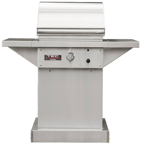 "TEC 26"" Freestanding Sterling Patio FR Infra-Red Gas Grill Stainless Steel Pedestal w/ Shelves - Yardandpool.com"