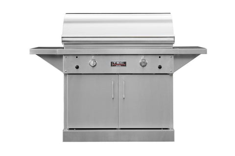 "TEC 44"" Freestanding Sterling Patio FR Infra-Red Gas Grill Stainless Steel Cabinet w/ Shelves - Yardandpool.com"